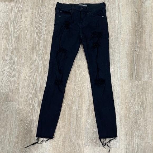 Express Black Mid Rise Legging Jean 2-Heavy Distre